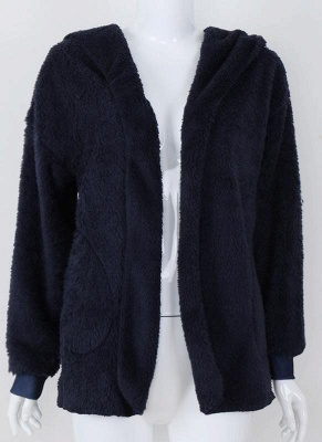 Fashion Women Hooded Cardigan Cashmere Solid Warm Knitted Outerwear Sweater Coat_5