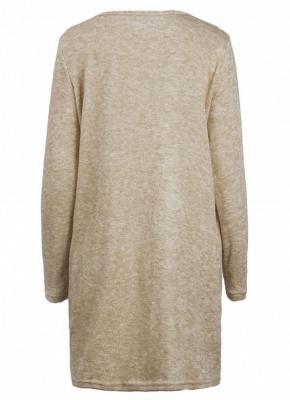 Women Loose Knit Sweater Dress Long Sleeves Pockets Party Mini Straight Dress_3