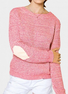 Women Loose Knitted Sweater Elbow Heart Patch Solid Long Sleeve Knit Pullover_1