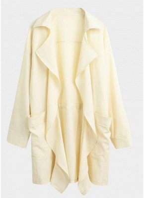 Women Fashion Lapel Solid Trench Coat_1