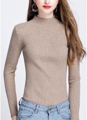 Fashion Women Turtleneck Long Sleeve Ruffled Knitting Sweater_5