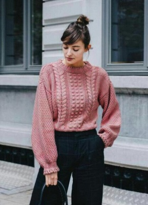 New Women Twist Solid Color Long Sleeve Loose Pullover Knitted Sweater_1