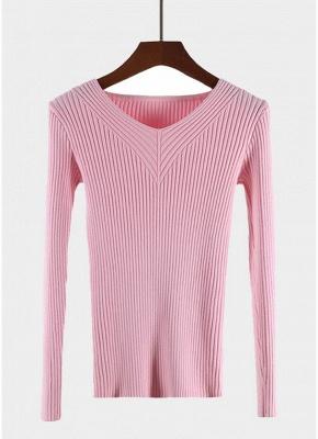 Fashion Women Basic Solid Elastic Knitwear_1
