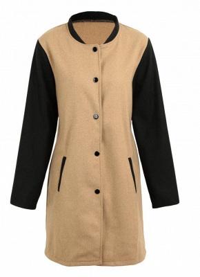 Women Winter Color Splice Long Sleeves Side Pockets Buttons Outerwear Coat_6