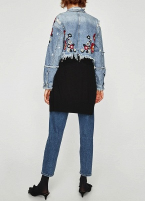 Women Floral Embroidery Ripped Fringe Casual Denim Jacket_5