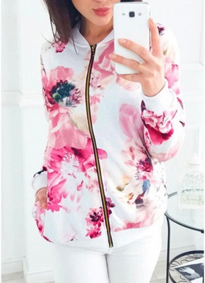 Floral Print Coats Long Sleeve Zipper Bomber Jacket Casual Top Streetwear_1