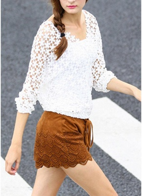 Chic Crochet Lace V-Neck Long Sleeve White Blouse with Vest_1