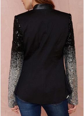 Women Blazer Coat Sparkling Sequin Long Sleeves Irregular Hem Elegant Outwear Jacket Business Suit_4