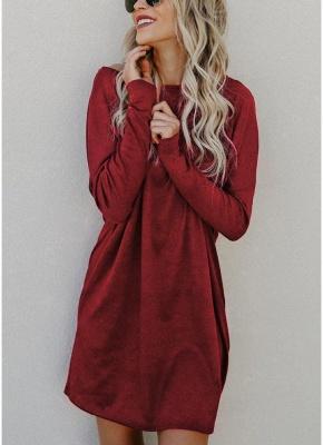Women Loose Knit Sweater Dress Long Sleeves Pockets Party Mini Straight Dress_1