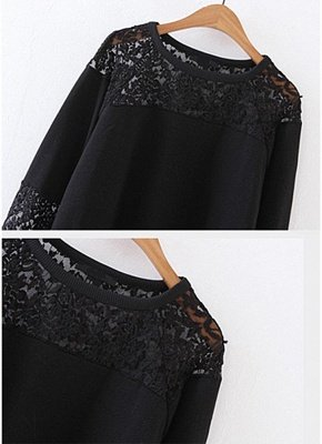 Women Sweatshirt Sheer Lace Insert Raglan Long Sleeves Loose Oversized_4
