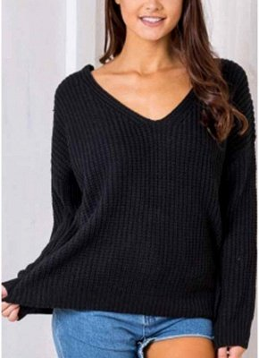 Anself Backless Knitting Pullover Lace Up Loose Sweater