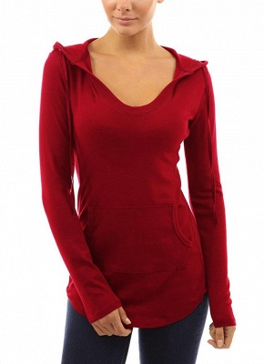 Fashion Autumn Women Hooded Drawstring Front Pocket Long Sleeves Tee_2