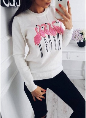 Fashion Women Embroidery Flamingo O Neck Long Sleeve Sweatshirt_1