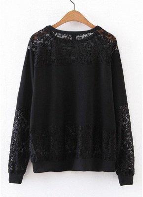 Women Sweatshirt Sheer Lace Insert Raglan Long Sleeves Loose Oversized_3