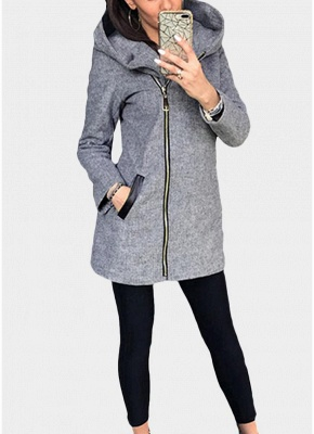 Women Casual Zip Up Hoodie Long Sleeves Pockets Sweatshirt Coat