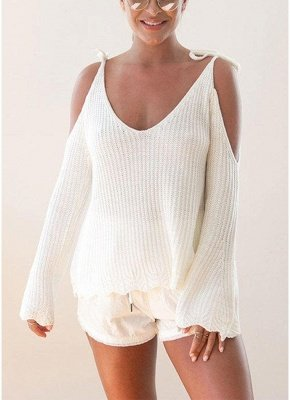 Women Knitted Sweater V Neck Cold Shoulder Flare Sleeve Spaghetti Straps Streetwear_1
