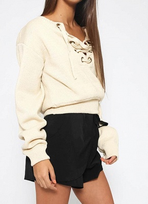 Lace-Up Knit Sweater V Neck Long Sleeves Ribbed Cuffs Hem Women's Pullover_3