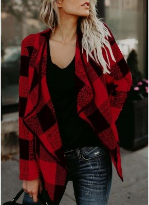 Fashion Women Long Sleeve Plaid Lapel Collar Casual Irregular Jacket