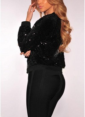 Women BlingBling Sequin Outwear Zipper Front Long Sleeve Bomber Jacket Basic Coat_3