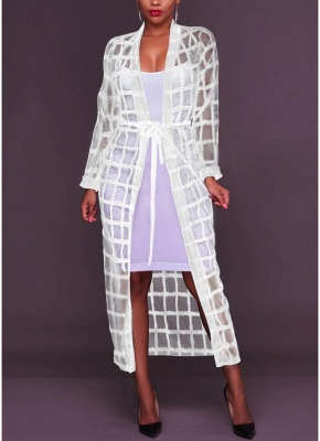 Sexy Women Mesh Maxi Crochet Lace Bandage Long Sleeves Long Cardigan_1