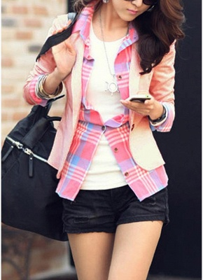 Women One Button Business Blazer Suit Long Sleeves Office Casual Leisure Coat Jacket Ladies Short Outwear_1