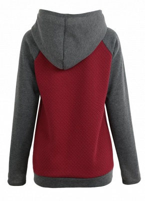 Fashion Women Hoodie Sweatshirts Contrast Color Long Sleeve Drawstring Casual Warm Pullover Hooded Tops_8