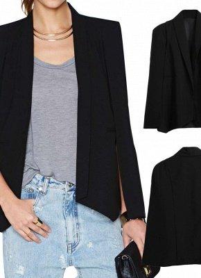 New Women Cape Blazer Lapel Split Pockets Casual Solid Cloak Coat Suit_3