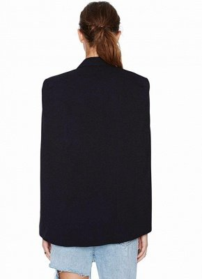 New Women Cape Blazer Lapel Split Pockets Casual Solid Cloak Coat Suit_4