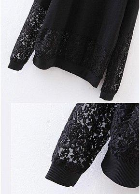 Women Sweatshirt Sheer Lace Insert Raglan Long Sleeves Loose Oversized_5
