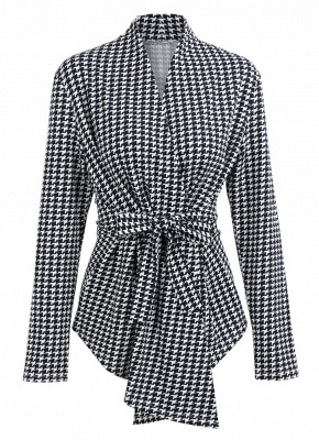 Women Houndstooth Plaid Cardigan Coat Long Sleeves Open Front Waist Strap Asymmetrical Casual Tops Outwear_1