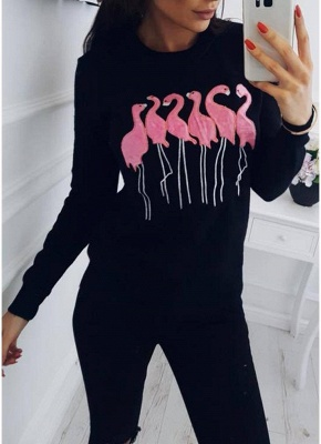 Fashion Women Embroidery Flamingo O Neck Long Sleeve Sweatshirt_3