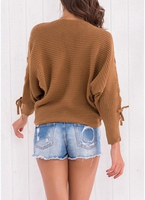 Knitted Sweater Long Sleeves Boat Neck Loose Jumper Bottoming Sweater Top_4