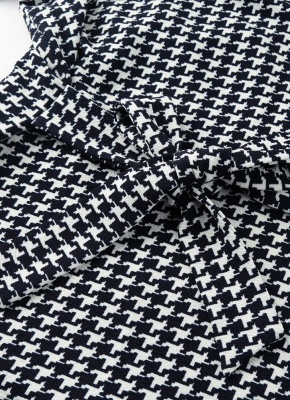 Women Houndstooth Plaid Cardigan Coat Long Sleeves Open Front Waist Strap Asymmetrical Casual Tops Outwear_5