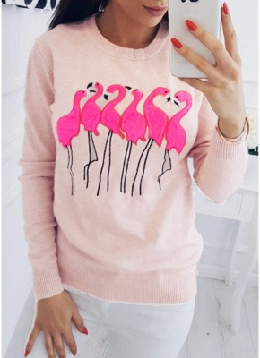 Fashion Women Embroidery Flamingo O Neck Long Sleeve Sweatshirt_2