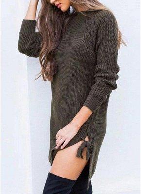 Sexy Winter Women Lace Up Knit Sweater O Neck Long Sleeve Split Knitted Pullover Jumper Knitwear_5
