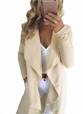 Waterfall Drape Pockets Ribbed Sleeves Casual Warm Outerwear Overcoat