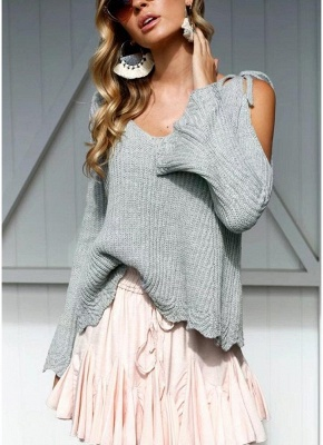 Women Knitted Sweater V Neck Cold Shoulder Flare Sleeve Spaghetti Straps Streetwear_3