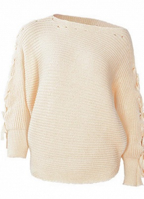 Knitted Sweater Long Sleeves Boat Neck Loose Jumper Bottoming Sweater Top_2