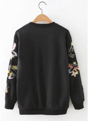 Women Sweatshirt Floral Bird Embroidery Long Sleeves O-Neck Casual Elegant Pullover Top_3