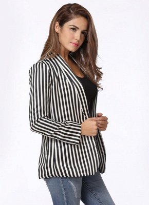 Fashion Contrast Stripes Pockets Long Sleeves Elegant Women's Coat_3