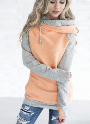 Fashion Women Hoodie Sweatshirts Contrast Color Long Sleeve Drawstring Casual Warm Pullover Hooded Tops_2
