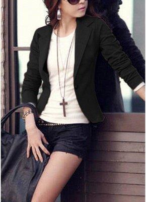 Women One Button Business Blazer Suit Long Sleeves Office Casual Leisure Coat Jacket Ladies Short Outwear_3