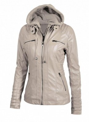 Faux Leather Hooded Zippered Short Slim Motorcycle Jacket
