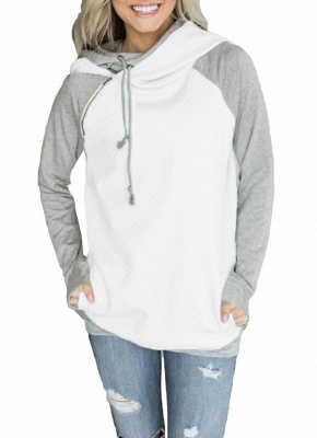 Fashion Women Hoodie Sweatshirts Contrast Color Long Sleeve Drawstring Casual Warm Pullover Hooded Tops_1