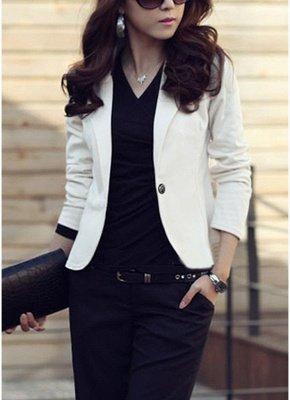 Women One Button Business Blazer Suit Long Sleeves Office Casual Leisure Coat Jacket Ladies Short Outwear_2