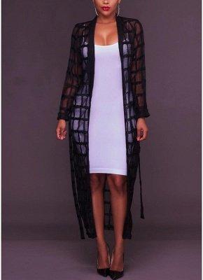 Sexy Women Mesh Maxi Crochet Lace Bandage Long Sleeves Long Cardigan_2