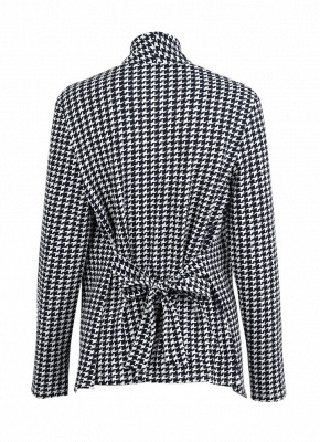 Women Houndstooth Plaid Cardigan Coat Long Sleeves Open Front Waist Strap Asymmetrical Casual Tops Outwear_4