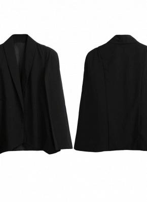 New Women Cape Blazer Lapel Split Pockets Casual Solid Cloak Coat Suit_5