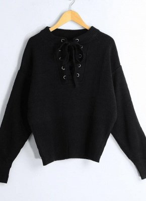 Lace-Up Knit Sweater V Neck Long Sleeves Ribbed Cuffs Hem Women's Pullover_7