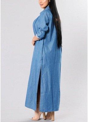Women Denim Trench Coat Open Front Waterfall Long Sleeve Split Casual Outwear_4